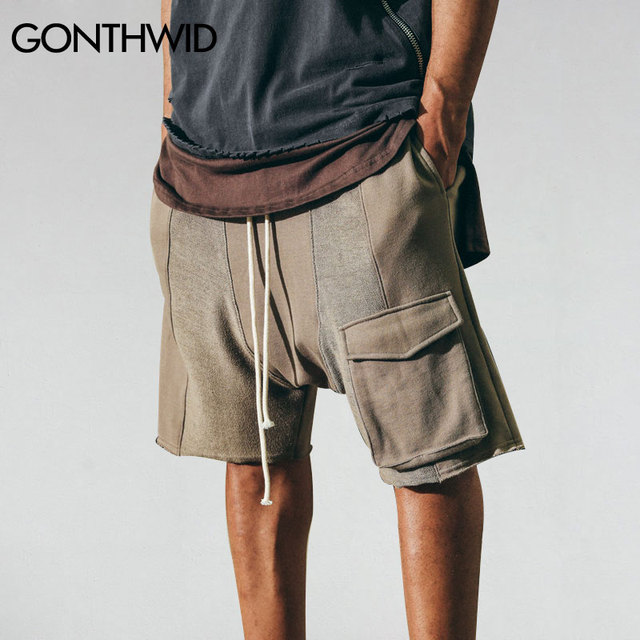 b02a6ab7ef GONTHWID Hip Hop Mens Cargo Shorts Male Summer Drawstring Cargo Pockets  Skateboards Sportings Urban Clothing Sweatpants Joggers