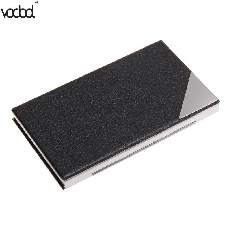 VODOOLPU Leather Business Card Holder Name ID Credit Card Wallet Stainless Steel Card Case for Men Women ID Card Holder 5pack 120 cards black leather business name id credit card holder book case organizer