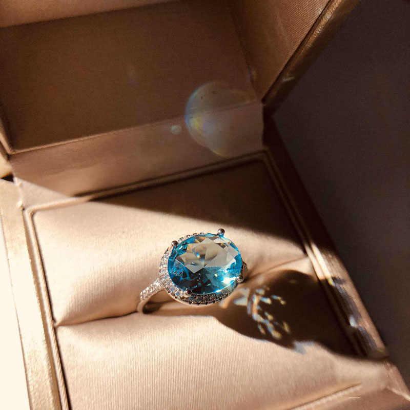 น่ารักหญิงเครื่องประดับ 925 เงินสเตอร์ลิง Big สีฟ้าคริสตัล CZ Zircon แหวนหินสำหรับผู้หญิง VINTAGE หมั้นแหวน