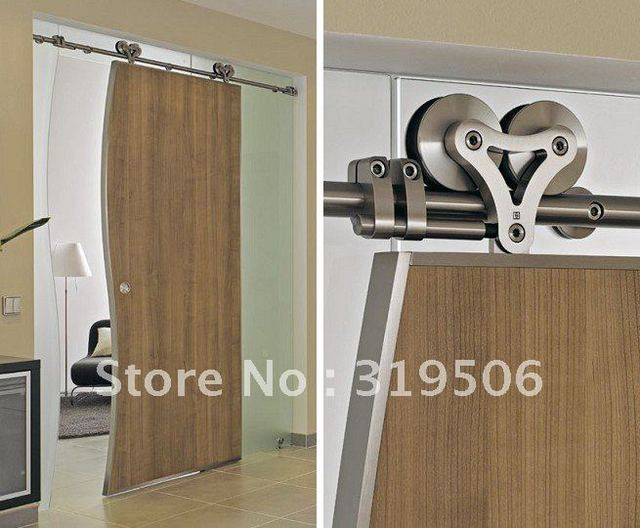 Modern 304 Stainless Steel Sliding Barn Door Hardware For Wood