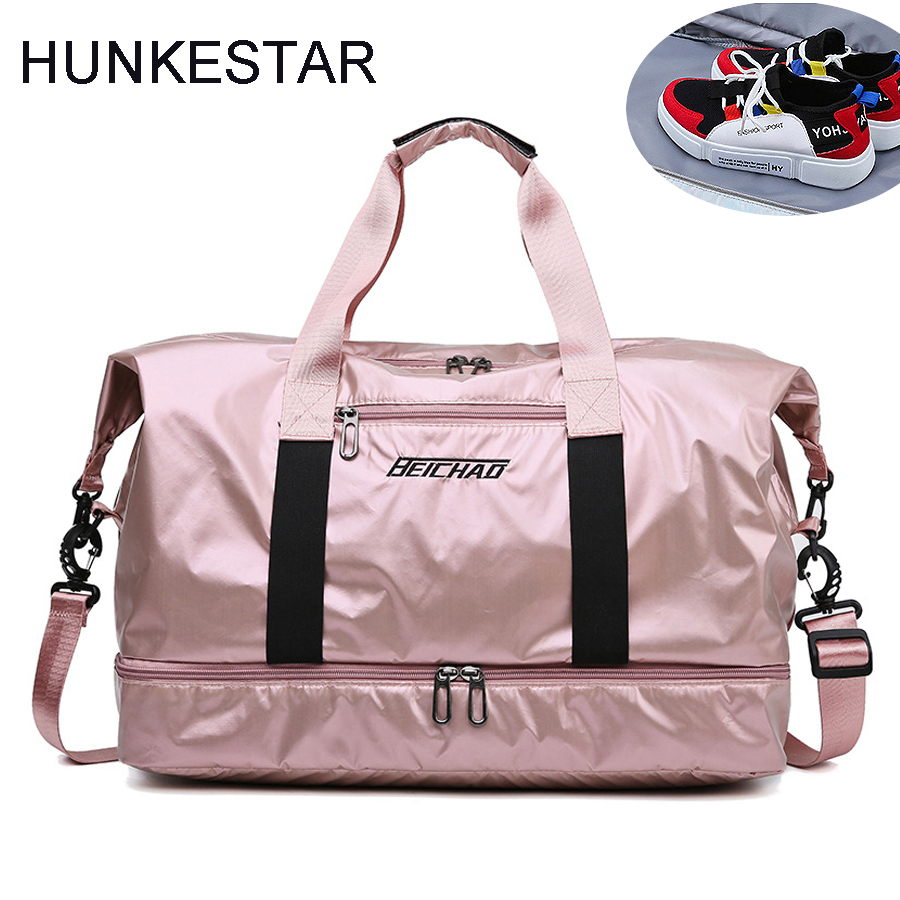 8935adc7c009 US $16.05 27% OFF|Pink Glossy Fitness Gym Bags Dry Wet Tas Handbags For  Women With Shoes Compartment Travel Training sac De Sport Yoga Mat Bag-in  Gym ...
