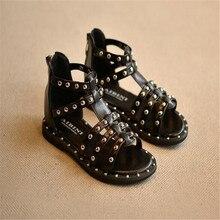 Летняя новая корейская детская обувь, модные сандалии с заклепками для девочек, детская Студенческая обувь принцессы в римском стиле, плетеная пляжная обувь, 26-36e