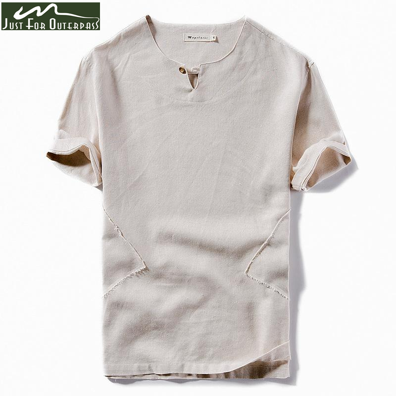 Aliexpress Com Buy  New Arrival Summer Cotton Linen T Shirt Men Fashion Trend Brand T Shirt Male Short Sleeve Stand Collar Solid Color Tees From