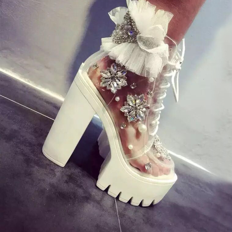 Carollabelly Handmade Thick Heels Platform Women Autumn Boots Transparent Ankle Boots Women Lace Up Rhinestone Lace