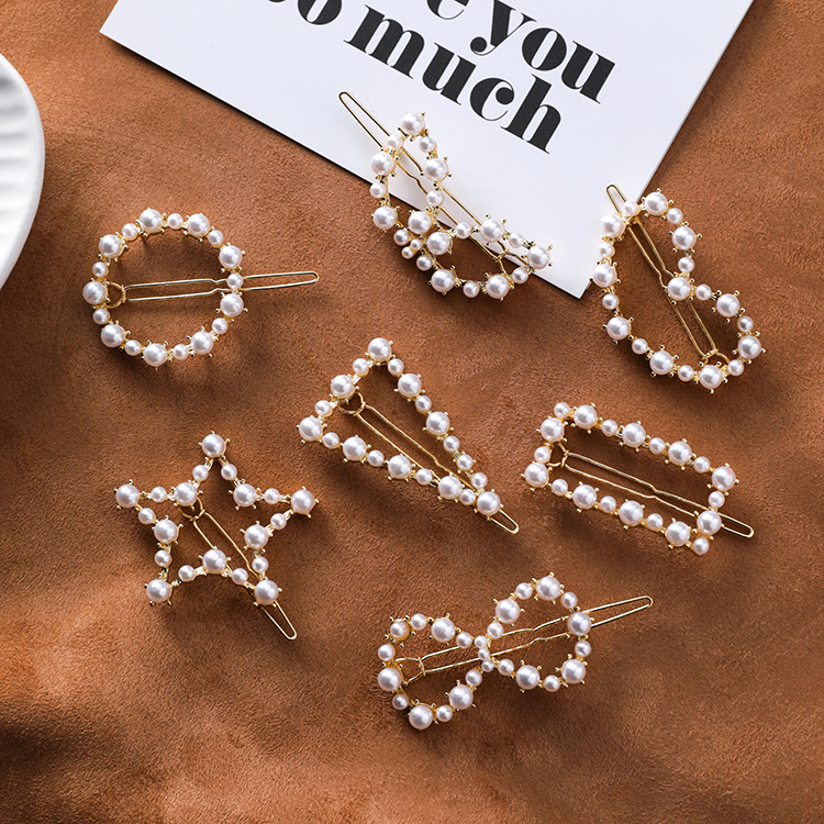 MENGJIQIAO 2019 New Hollow Heart Star Circle Imitation Pearl Hairgrips Handmade Fashion Girl Hair Accessories Hairpins Barrettes