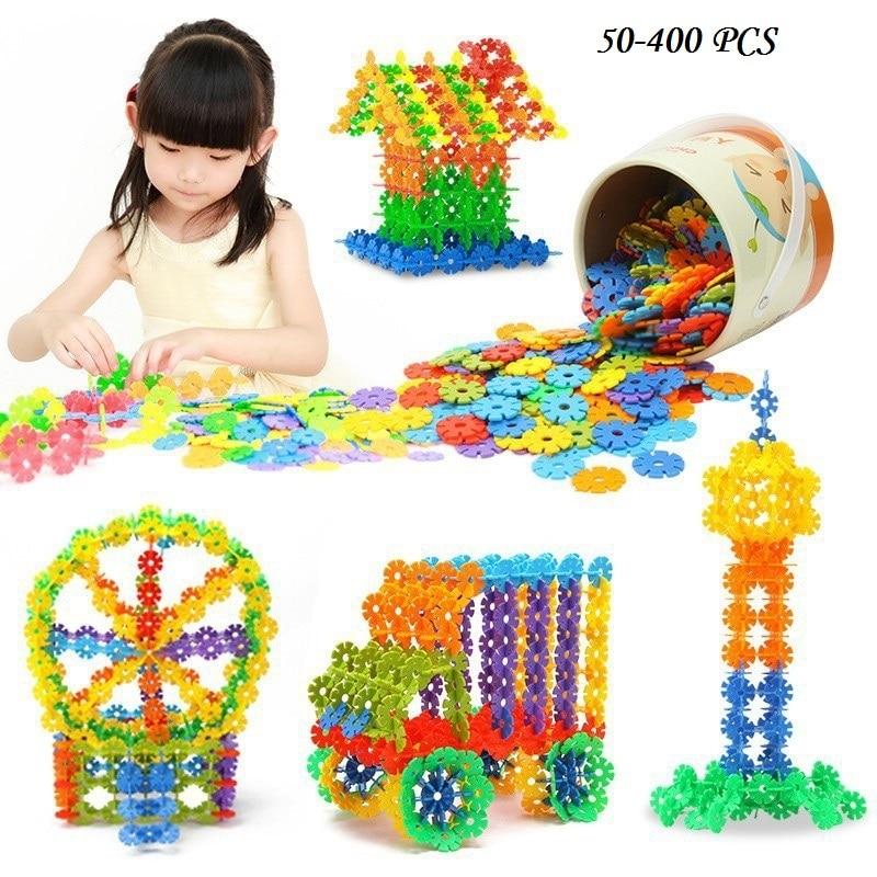 100pcs Montessori Snowflake Multicolor Building Blocks Toy Brick Snow DIY Block Assembling Early Educational Learning Toy