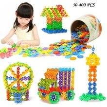 400pcs/pack Montessori Snowflake Multicolor Building Blocks Toy Brick Snow DIY Block Assembling Early Educational Learning Toy цена