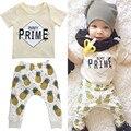 2016 Chegada Nova Verão Estilo 2 pc Conjuntos de Bebê Recém-nascido Do Bebê Carta menino impressão Camisas + Calças Roupas Bonito Abacaxi infantis Do Bebê Conjuntos