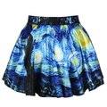 Nova Moda venda Quente de verão 2016 saias das mulheres saias plissadas Noite Estrelada de Van Gogh Impresso Saia Saia