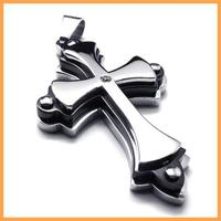55*30mm Fashion trendy stunning stainless steel pendant necklaces crystal three layers cross necklace with chain 076368