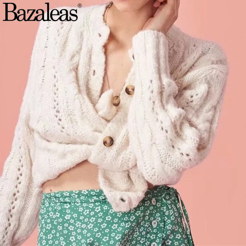 Bazaleas elastic Women cardigans spring autumn knitting tops Casual sweater