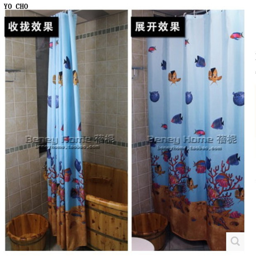 2014 The underwater world polyester cloth shower curtain