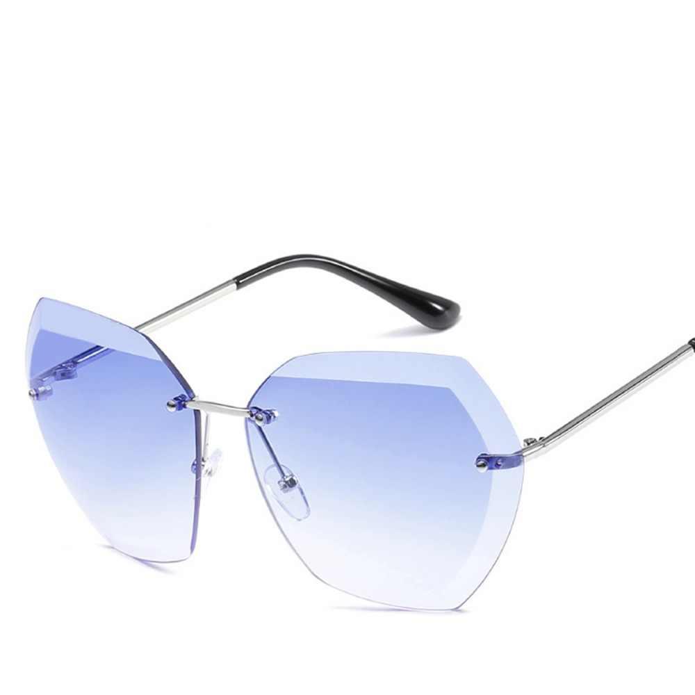 9b6573d08a83 ... Luxury Fashion Rimless Sunglasses Women Transparent Clear Metal Frame  Sun Glasses Vintage Female Oversized Cutting Sunglass