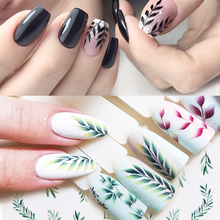 New arrived 30 Sheets Nail Water Decals Botanical Leaf Stickers Butterfly Flowers Art Transfer Sticker Z0143
