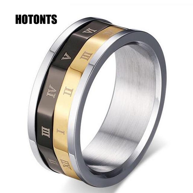 R 108 High Quality Turnable Lucky Ring Roman Letter Men Rings Anium Steel Black