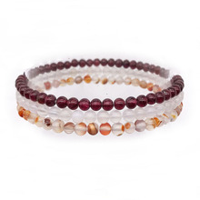 3 pcs /Set fashion Bracelet Sets For Women Men girls Natural Stone 4 mm Round Smooth Bead Agates Garnet For Her Gift #5 недорого