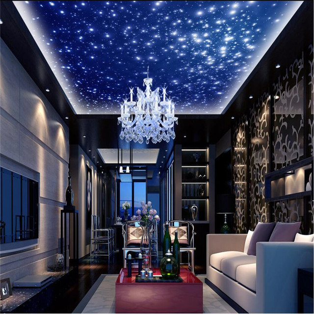 Beibehang Mural 3d Wallpaper Home Decoration Photo Background Wallpaper Blue Sky Star Living