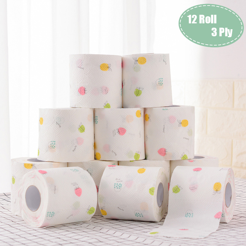 12 Roll 3 Ply Fruit Printed WC Bath Funny Toilet Paper Tissue Bathroom Products  Rolling Paper