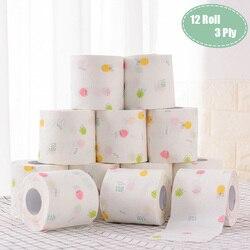 12 rotolo di 3 Strati di Frutta Stampato WC Bagno Divertente Igienica Carta Velina Prodotti per il Bagno Carta di Rotolamento