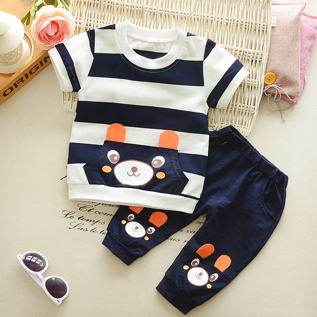 87186004366ae Baby short sleeve set 0-4 year old baby girls boy baby clothes 2018 summer  new leisure sports cotton bear fashion cute two sets