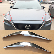 2 шт. для Mazda 6 Atenza- хромированная карбоновая фара Брови Веки передняя фара брови Накладка аксессуары