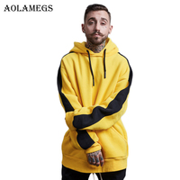 Aolamegs Hoodies Men Side Striped Thick Hood High Street Pullover Cotton Fashion Hip Hop Streetwear Casual