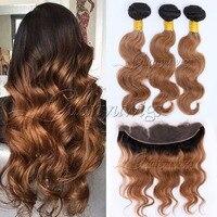 Guanyuhair предварительно Цветной 100% человеческих волос Weave 1B/30 Ombre перуанский объемной волны пучки волос с фронтальной застежка два тона волос