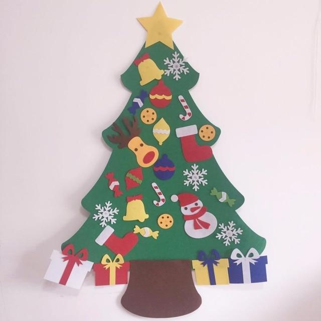 kids preschool craft diy felt christmas tree with ornaments children christmas gifts toddler door wall hanging