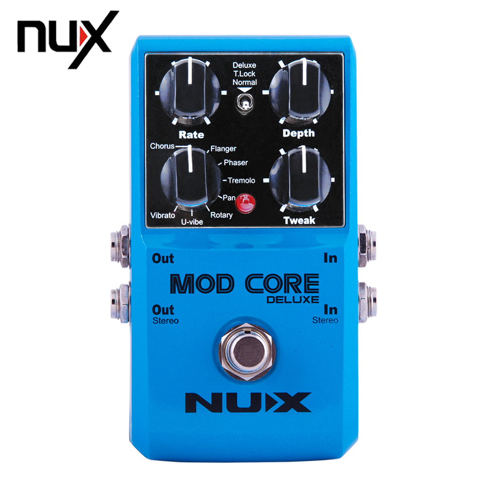 NUX Mod Core Deluxe Guitar Effect Pedal True Bypass 8 Modulation Effects Preset Tone Lock for Electronic Guitarra mooer mod factory modulation guitar effects pedal true bypass with free connector and footswitch topper