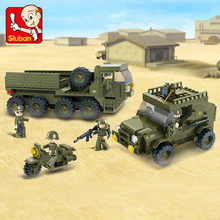 цена на Sluban 0307 Military Series Ural Military Truck Building Blocks Compatible  Diy Vehicles Soldier Bricks Toys For Children