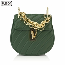 ULTRON Fashion Design Saddle Tote Bags For Women Thread Ring Chains Luxury Handbags Leather Crossbody