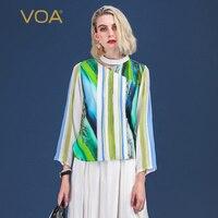 VOA со змеиным принтом Harajuku пуловер с широкими рукавами Колье Silk футболка в полоску Женская одежда повседневные женские Топы Футболки с длин