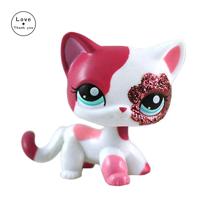 Pet Shop Toys Real Original White Pink Little Short Hair Cat Action Figure #2291 Girls Rare Animal Collection