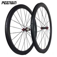 700C 탄소 딤플 wheelsets 도로 자전거 바퀴 45mm Clincher U 모양 디자인 Powerway R13 R36 허브를 가진 25mm 폭 딤플 표면