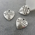 """18 * 16 MM """" juntos podemos hacer una diferencia """" corazón de la joyería breast cancer awareness ribbon encanto, mujer colgante de plata antiguo"""