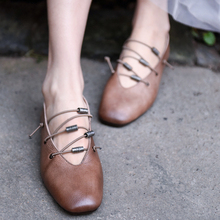 Artmu Original Genuine Leather Women Shoes Soft Sole Vintage Shallow Mouth Flat Comfortable Casual Handmade HS1902-3