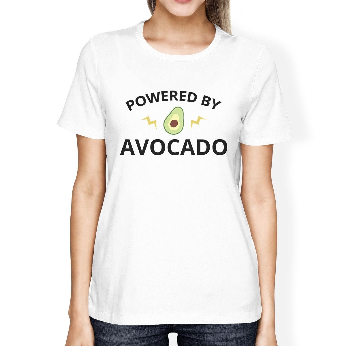 Design t shirt china - Powered By Avocado White Graphic Design Tee For Ladies Round Neck Personality Women S T Shirt 2017