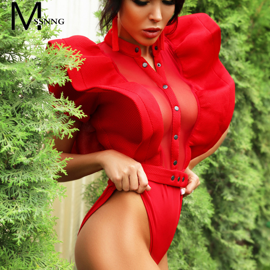 MSSNNG 2018 Black/Red Ruffles Bodysuit Women Summer Hollow Out Combinaison Rompers Femme ...