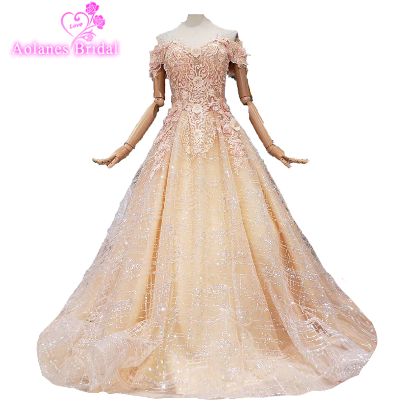 2019 Latest Pink Champagne Gold Lace Prom Dresses Heavy Beading Engagement Photos Custom Made Formal Dress Charming Evening Wear