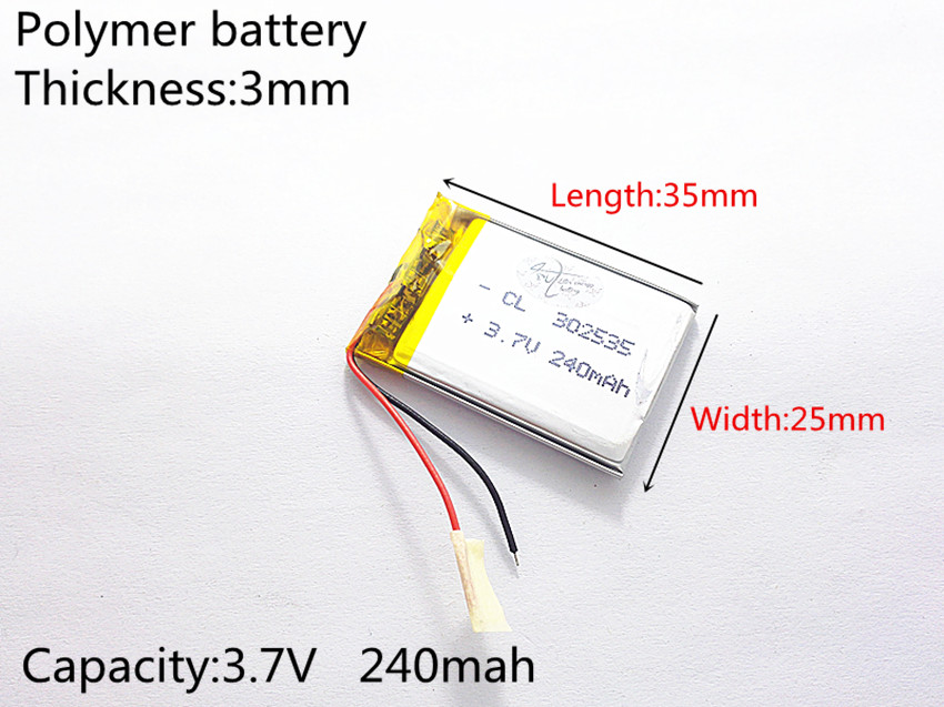 3.7V,240mAH,302535 PLIB; polymer lithium ion / Li-ion battery for GPS,mp3,mp4,mp5,dvd,bluetooth,model toy mobile bluetooth [sd] 402530 3 7v 300mah [352530] polymer lithium ion li ion battery for toy power bank gps mp3 mp4 cell phone speaker