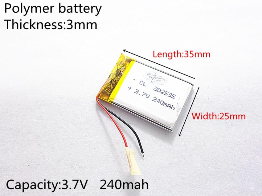 3.7V,240mAH,302535 PLIB; polymer lithium ion / Li-ion battery for GPS,mp3,mp4,mp5,dvd,bluetooth,model toy mobile bluetooth 3 7v polymer lithium battery 401215 mp3 mp4 60mah bluetooth headset small toy sound