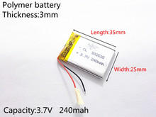 3.7V,240mAH,302535 PLIB; polymer lithium ion / Li-ion battery for GPS,mp3,mp4,mp5,dvd,bluetooth,model toy mobile bluetooth