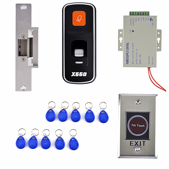 Fingerprint 125KHz RFID ID Card Reader Door Access Control System Kit+Power Supply +10 Key Card +NO Touch Door Switch diysecur 50pcs lot 125khz rfid card key fobs door key for access control system rfid reader use red