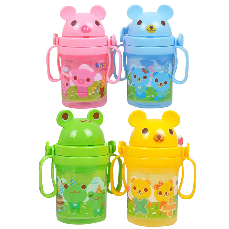 PP Eco-friendly Kids Drinking Cup Baby Non-toxic Bottles Child Training Drink Bottle Feeding with Adjustable Belt Portable