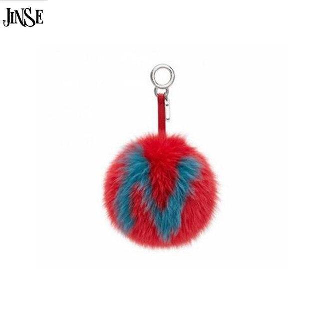 JINSE Custom initial Trinket fur Pom Pom keychain15cm fox fur ball keychains custom capital letter each item handmade holder