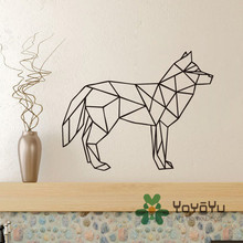 Removable Wolf Wall Decal Geometric Animal Art Sticker 3D Home Decor Mural for Kids Nursery Room Decoration NY-105
