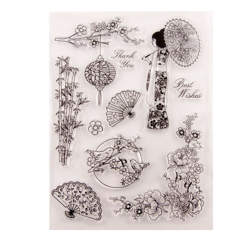Clear Japan Cherry Blossoms Kimono Stamps  DIY Scrapbooking/Card Making/Photo Album Rubber Transparent Stamp Kids Fun Decoration