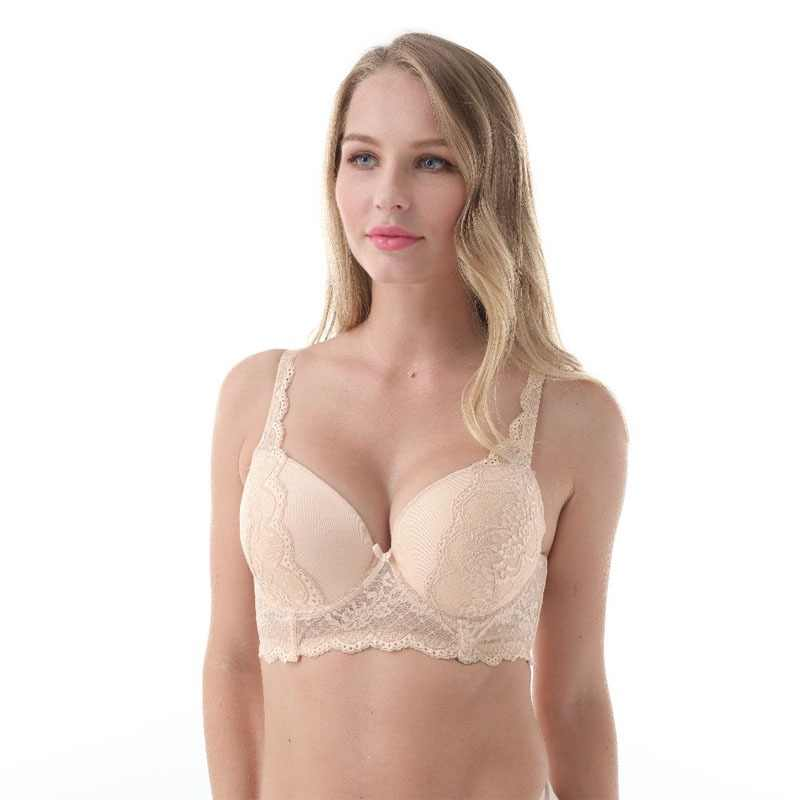 Women Big Breast Bra Sexy Lacy Women Bra 3/4 Cup Underwire Push Up High Quality Big Size Plus Size 30-46D/DD/DDD/E/F/FF/G  L5351