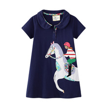 Fashion Turn-down Collar Dress Girls Horse Patchwork Kids Party Dresses for Girl Clothes Short Sleeve Toddler Dress New 2019 stylish cap sleeve turn down collar floral dress for girls