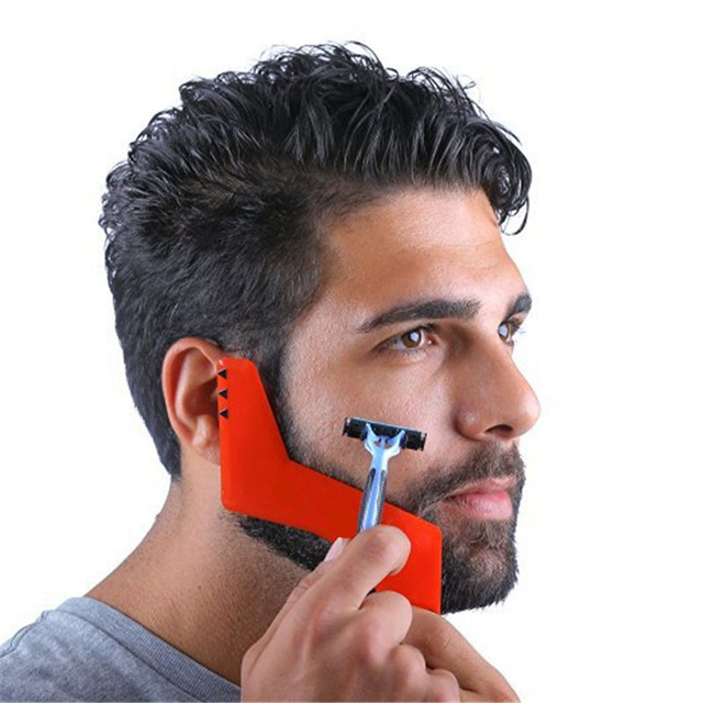 Red Professional Comb for Beard Shaving Beard Styling Template Carding Tool Bearded Comb Brush for Men Shaving Gillettee Fusione